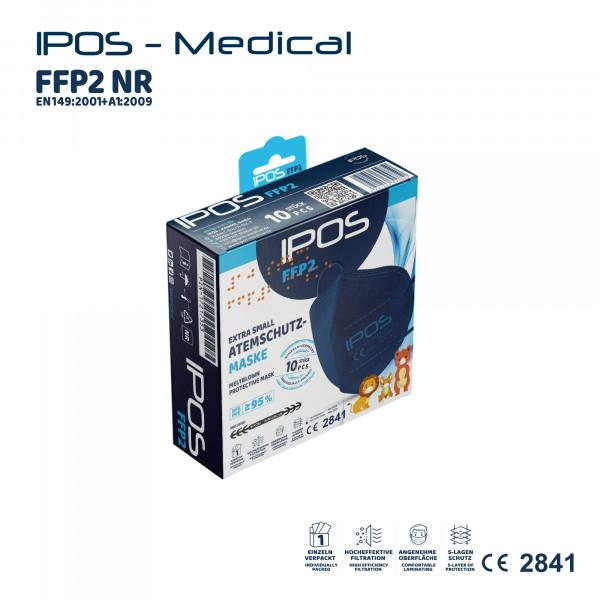 10er Box IPOS-FFP2 Extra Small Blau ATEMSCHUTZMASKE (EINZELVERPACKT)