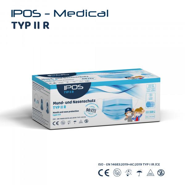 IPOS - Typ IIR - MNS Maske Blau Small - 50er Pack - 3-lagig