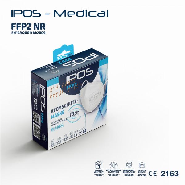 10er Box Weiß IPOS-FFP2 ATEMSCHUTZMASKE (EINZELVERPACKT)