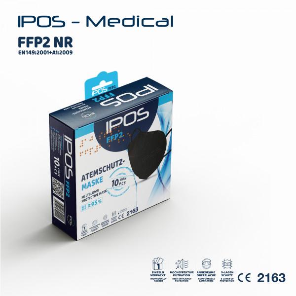 10er Box Schwarz IPOS FFP2 Atemschutzmaske (EINZELVERPACKT)