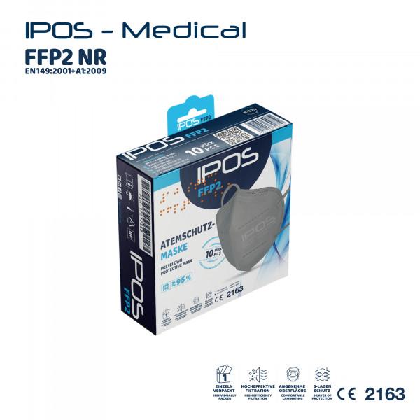 10er Box Grau IPOS FFP2 Atemschutzmaske (EINZELVERPACKT)