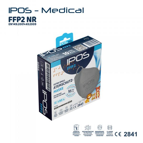 10er Box IPOS-FFP2 Extra Small Grau ATEMSCHUTZMASKE (EINZELVERPACKT)