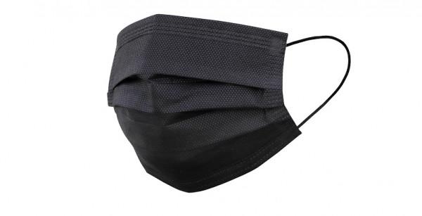 IPOS Mund- und Nasenschutz - 50er Pack, Einwegmaske, schwarz, 3-lagig