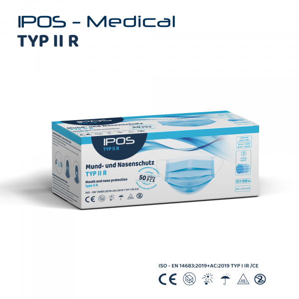 IPOS - Typ IIR - MNS Maske Blau - 50er Pack - 3-lagig